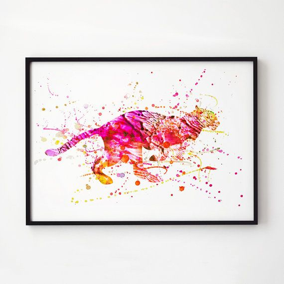 Wildlife Decor Colorful Print Cheetah Watercolor Printed On