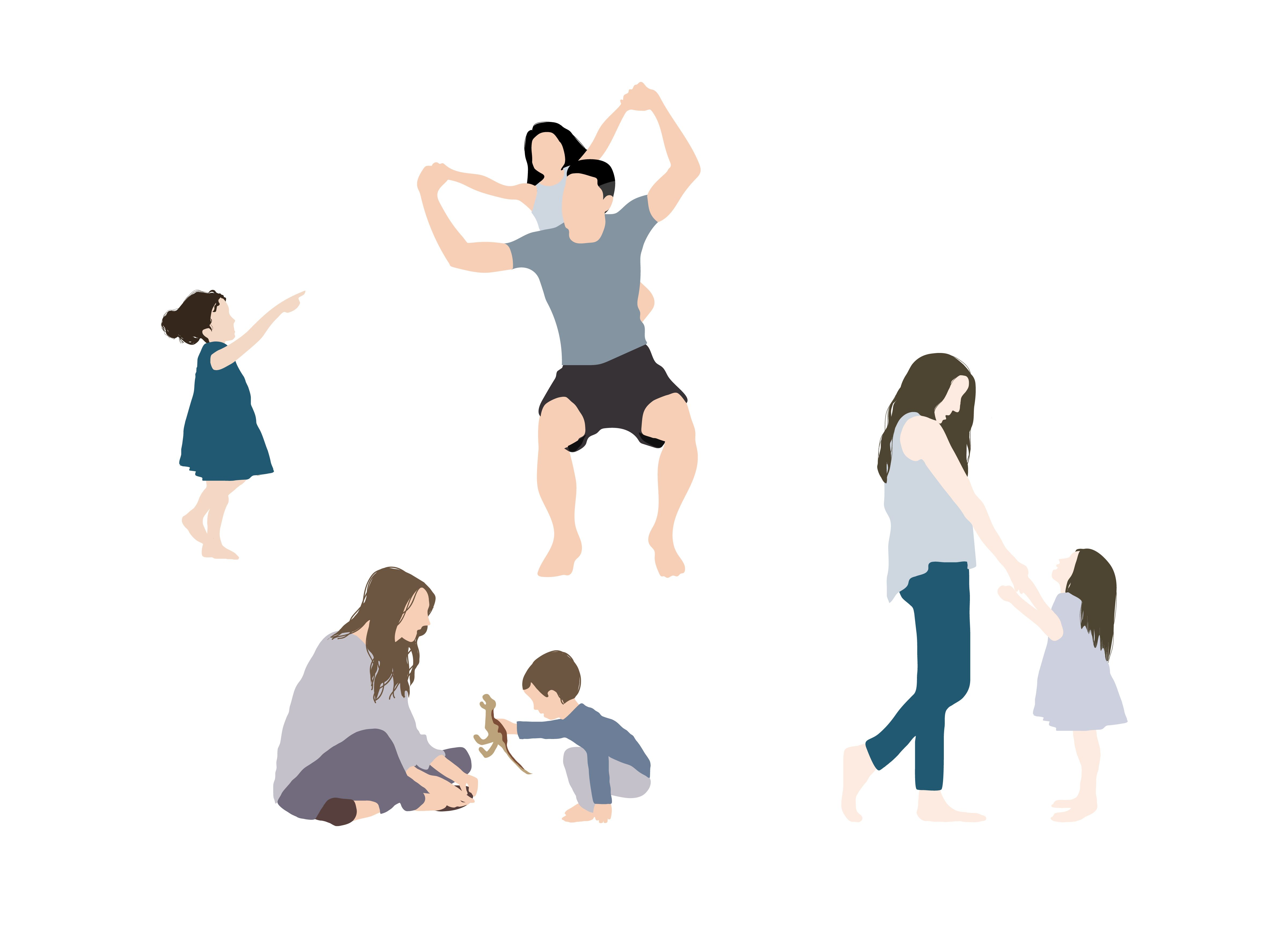 Flat Vector People Children Kids Family Vector Illustration People People Illustration Silhouette Architecture