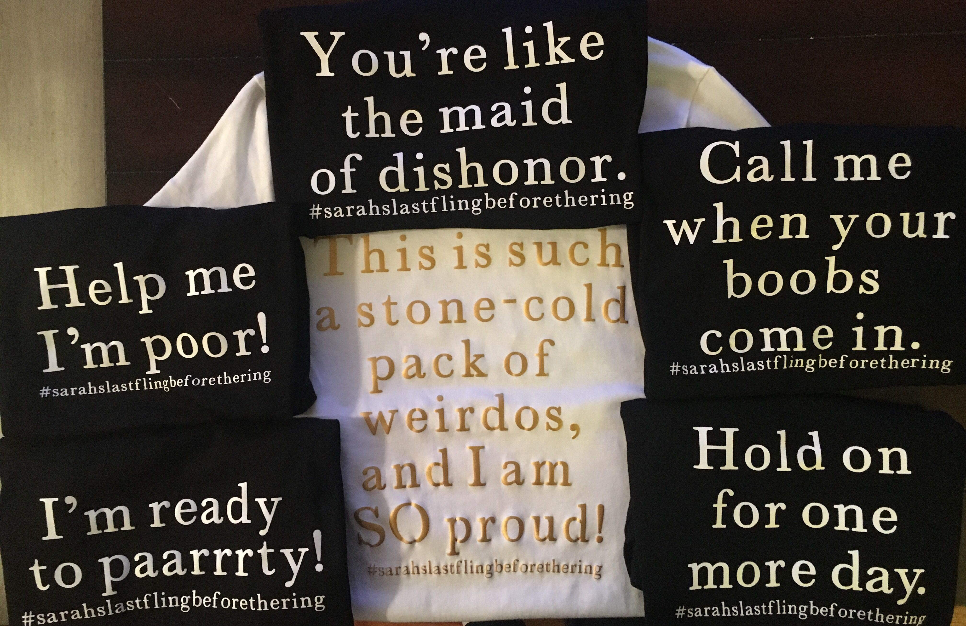 Bridesmaids quotes t-shirts for bachelorette party (back) in ...