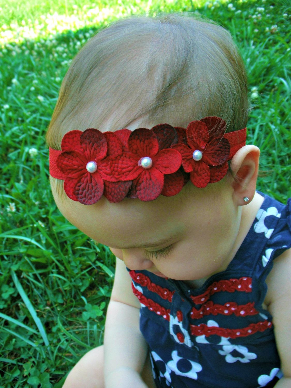 Baby girl flower headbandbaby headbandred by