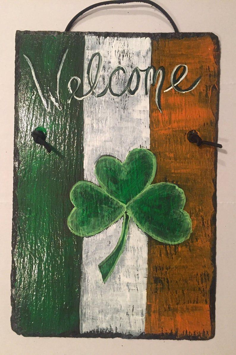 Patrick/'s Irish Shamrock Natural Slate Personalized Address OR Welcome Sign St