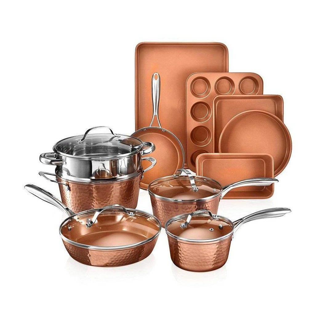 Gotham Steel Hammered Copper 15 Piece Aluminum Non Stick Cookware Set And Bakeware Set 2984 The Home Depot B In 2020 Bakeware Set Cookware Set Cookware And Bakeware