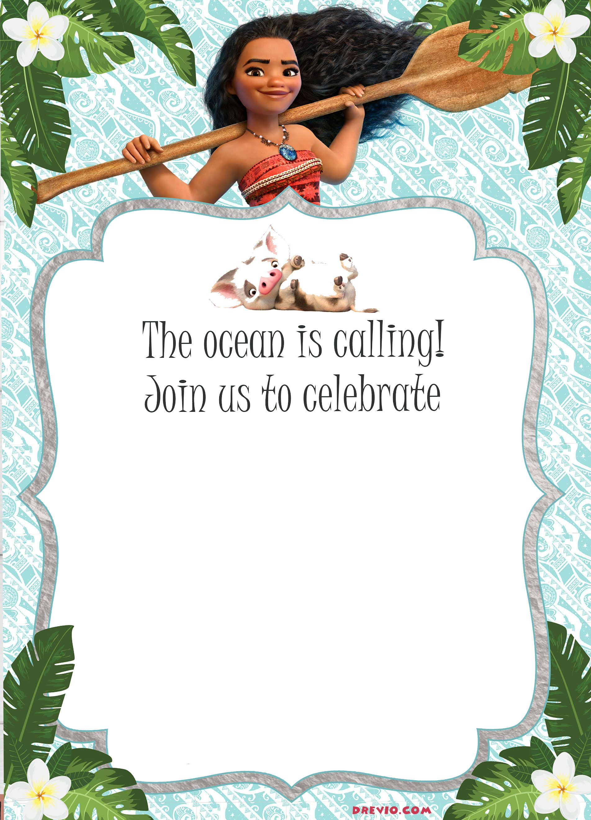 Moana Birthday Party Invitations Printable Free