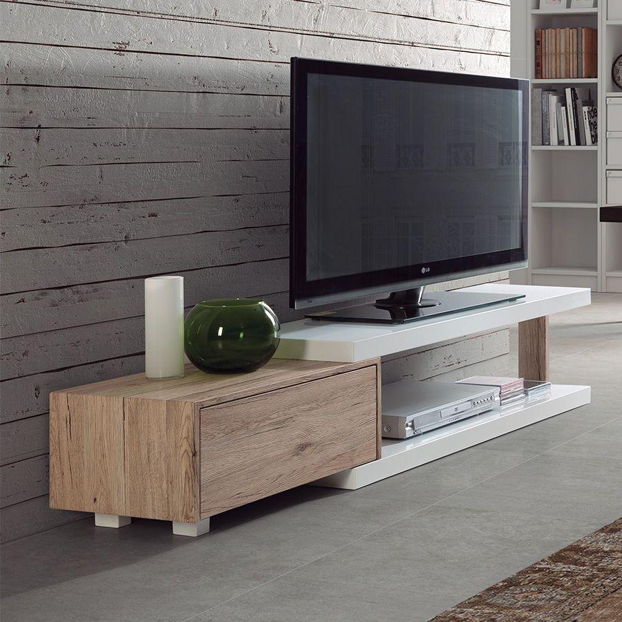 Meuble TV blanc laqué brillant et couleur bois BOCA | Meuble TV ...