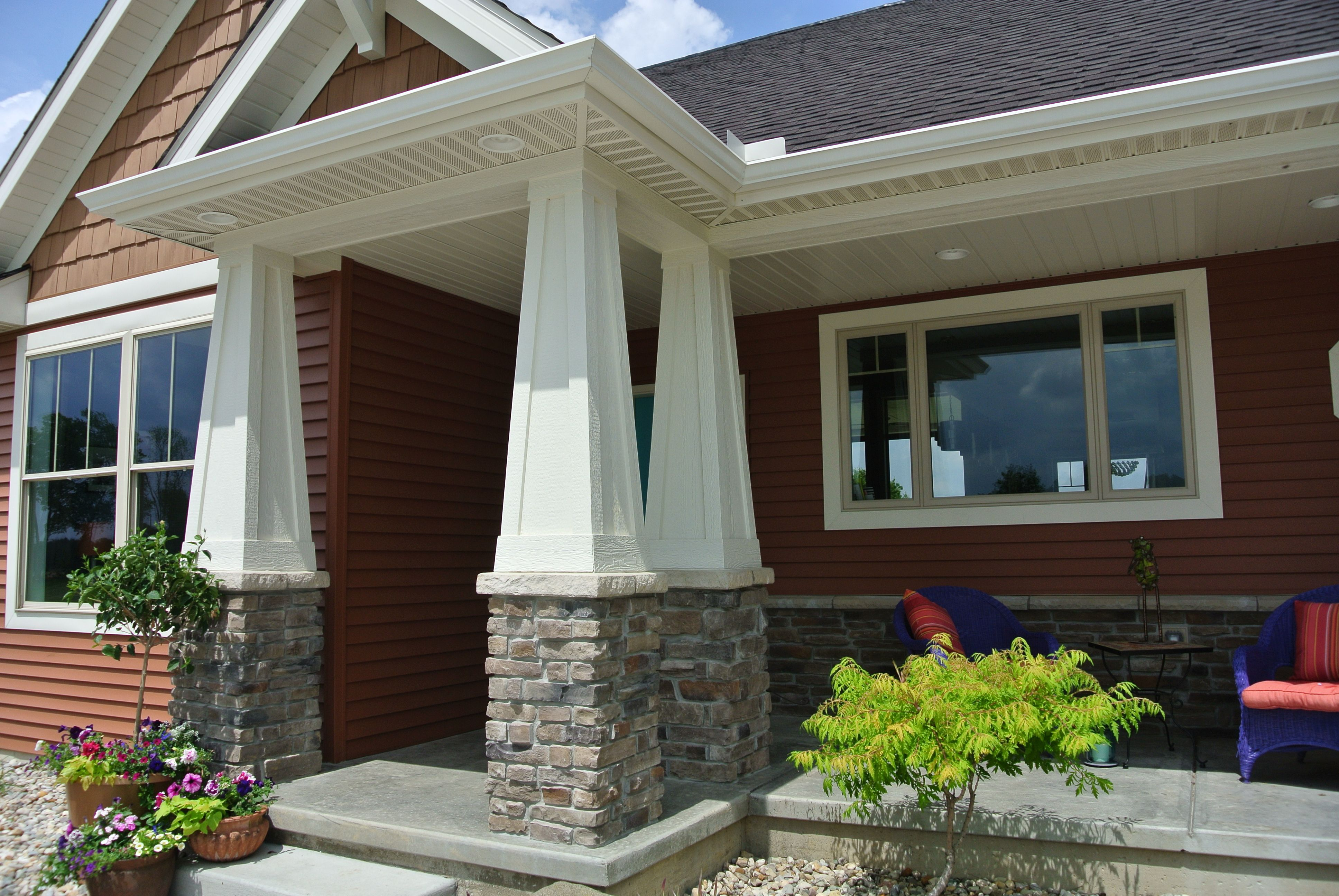 Stoned Front Porch Pillars Heritage Laytite J N Stone