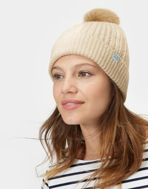 baad5ae488c4e Joules US KNITTED Womens Bobble Hat Porcelain