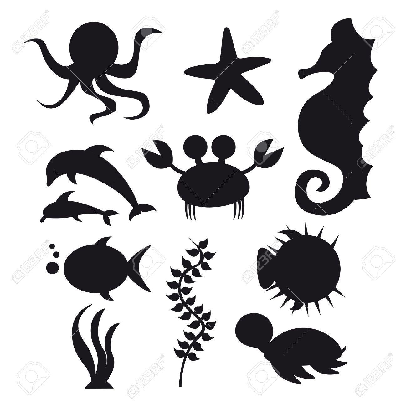 Under the sea silhouettes google search vbs 2016 - Clip art animali marini ...