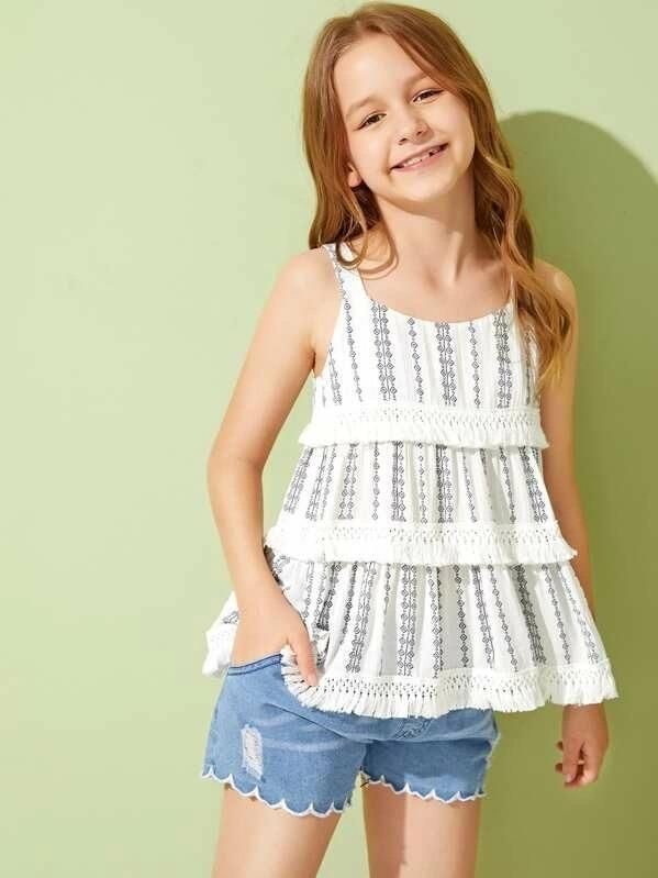 Girls Lace Insert Layered Tassel Trim Sleeveless Top -   16 DIY Clothes Lace girls ideas
