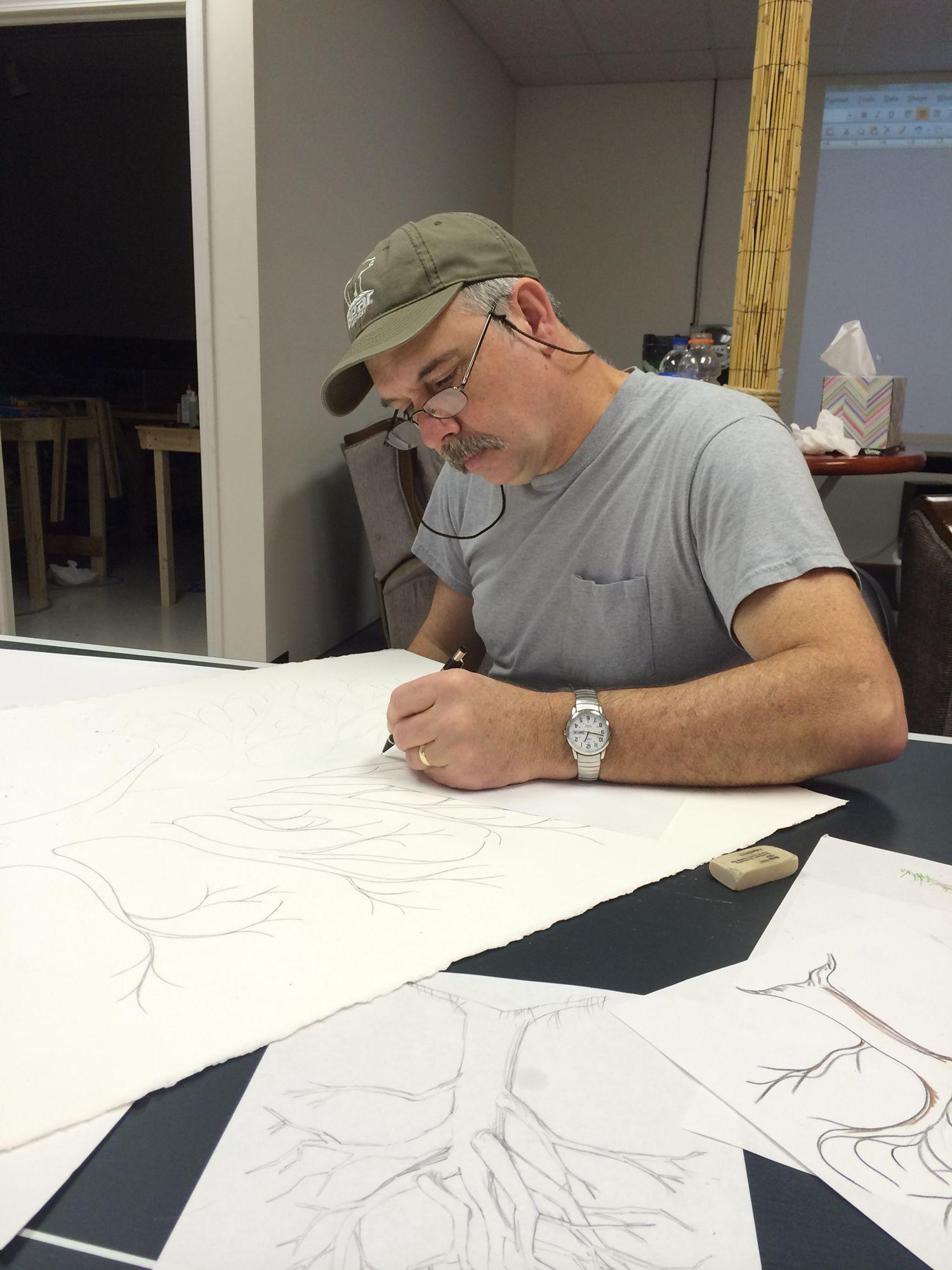 Guest registry tree thumb prints. Frank drawing.