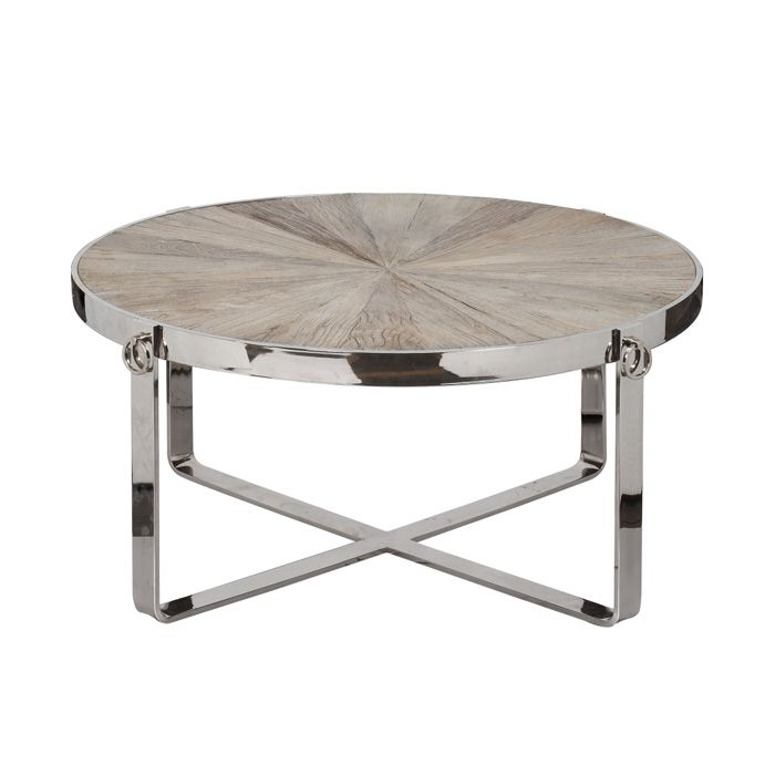 coffee table made with reclaimed wood and polished aluminum