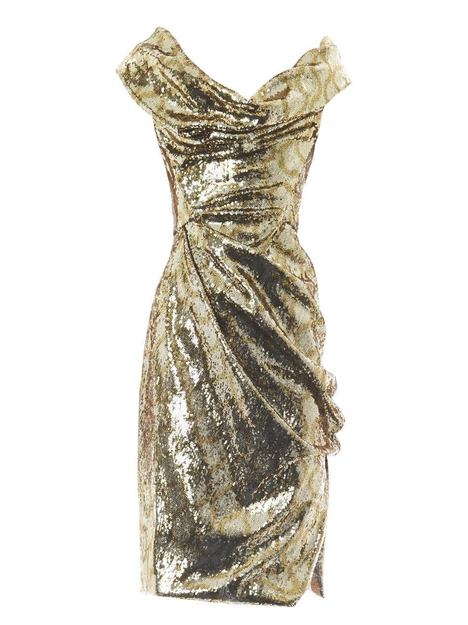 9f807cfb6fc81 Sequin gold patterned Vivienne Westwood dress | Fashion Lust | Gold ...