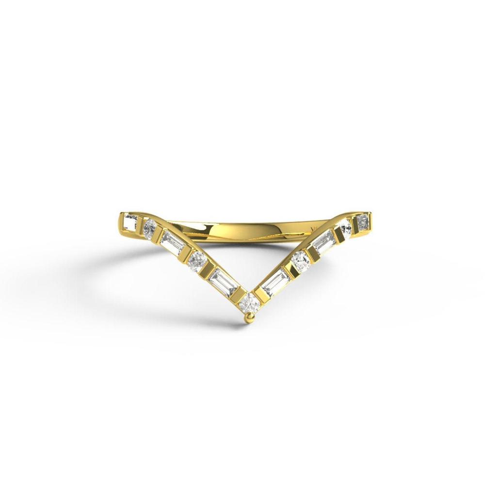 Curved Baguette Diamond Wedding Band / 14k Gold Baguette