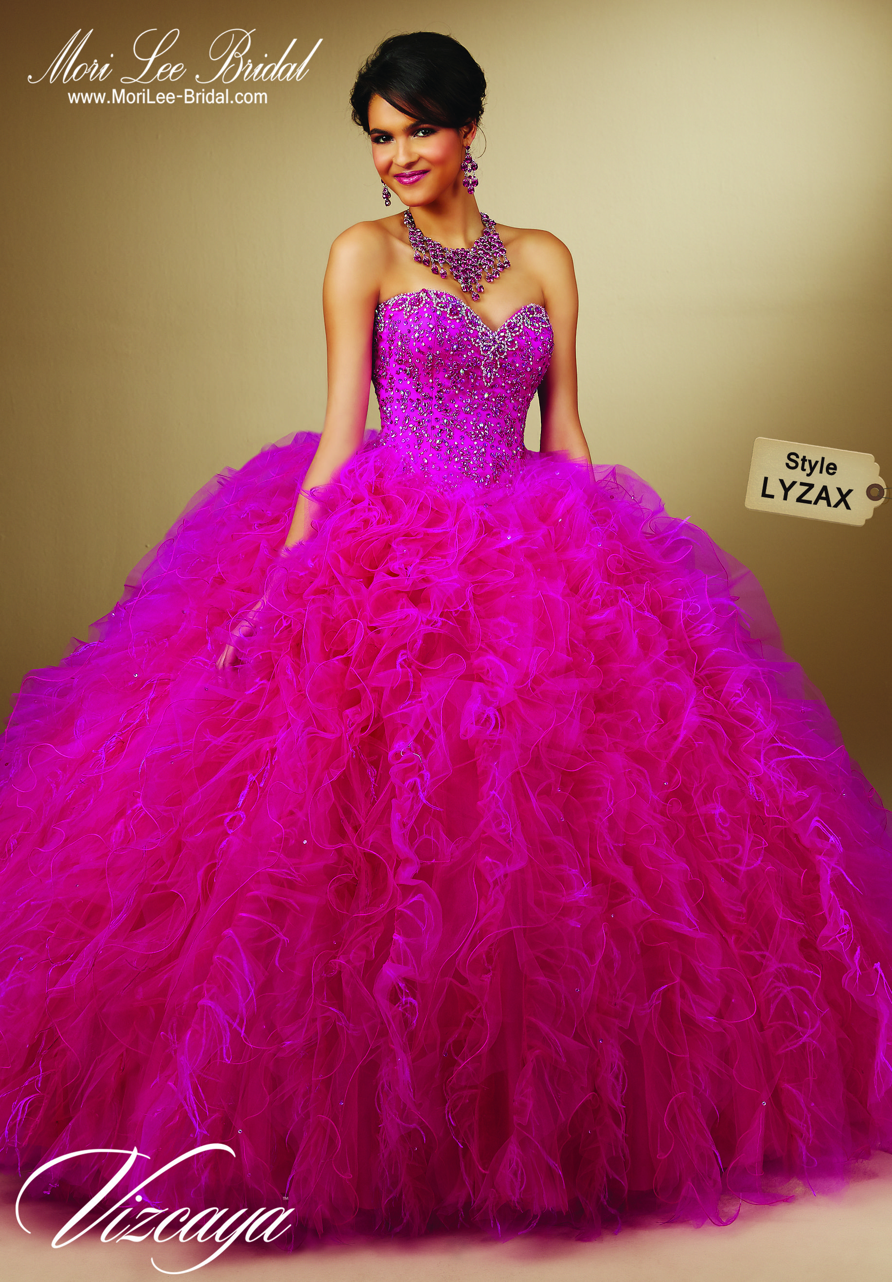Style LYZAX EMBROIDERY AND BEADING ON RUFFLED TULLE WITH FEATHERS ...