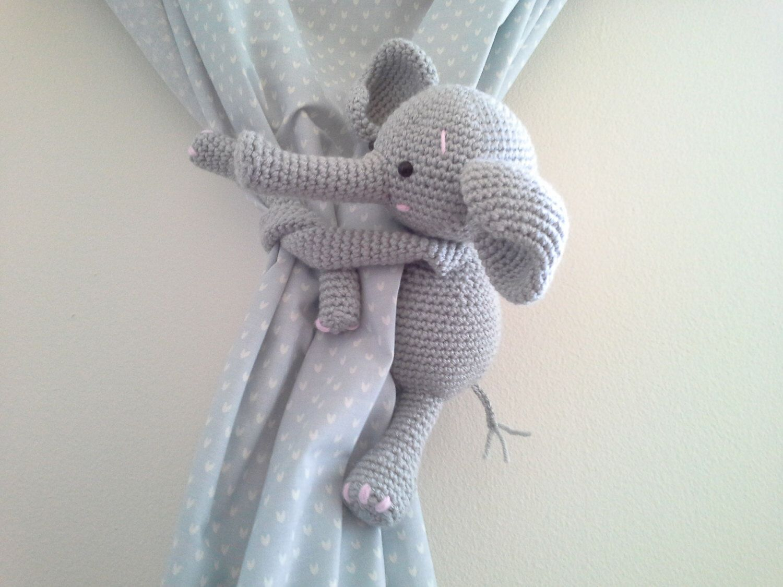 Elephant Curtain Tie Back Crochet Elephant Amigurumi Tie Back Elephant Gray Elephant Crochet Elephant Crochet Baby Baby Elephant