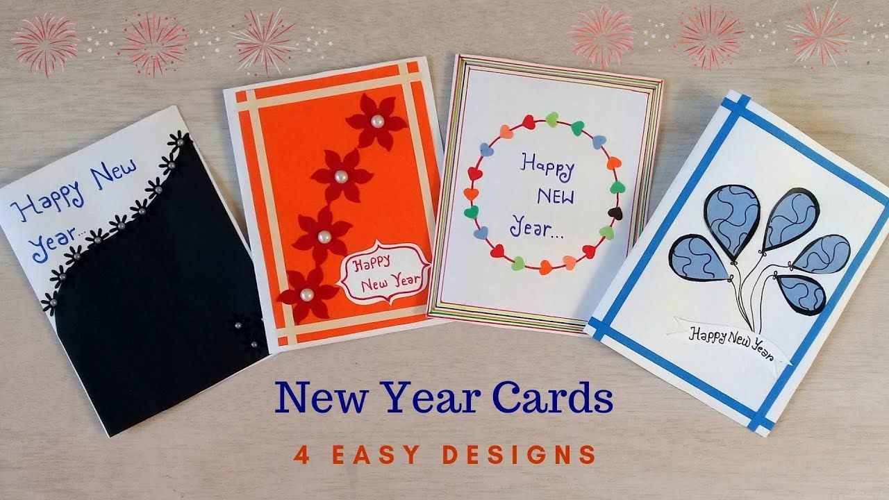 4 Easy & Beautiful New Year Cards How to make New Year