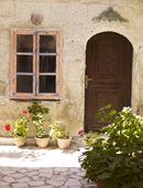 door, stone house, potted plants, stone paved, bush, window, colors