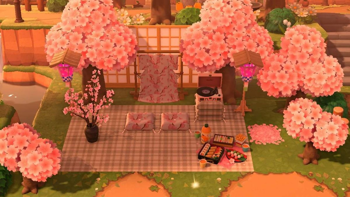 Animal Crossing New Horizons All The Cherry Blossom Recipes Available And How To Craft Them Animal Crossing Cherry Blossom Petals Cherry Blossom