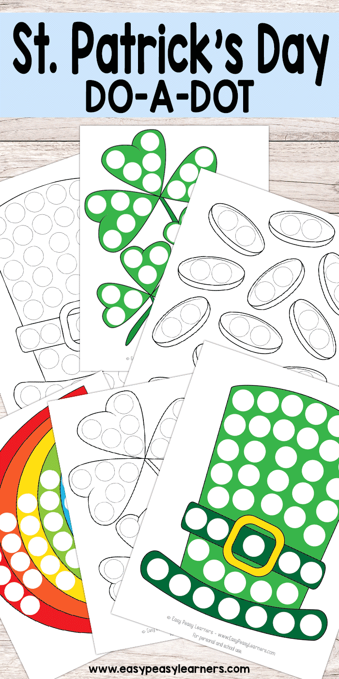 Free Printable St. Patricks Do a Dot Worksheets for Kids | Easy ...
