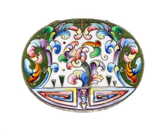 A Russian Enameled Silver Pill Box, 6th Artel, Moscow, 1908-1926, of oval f