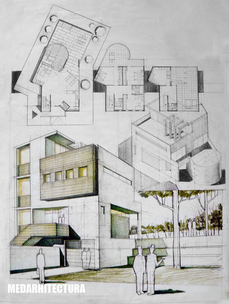 Contemporary house architectural drawing dragos neatu for How to draw architectural plans by hand