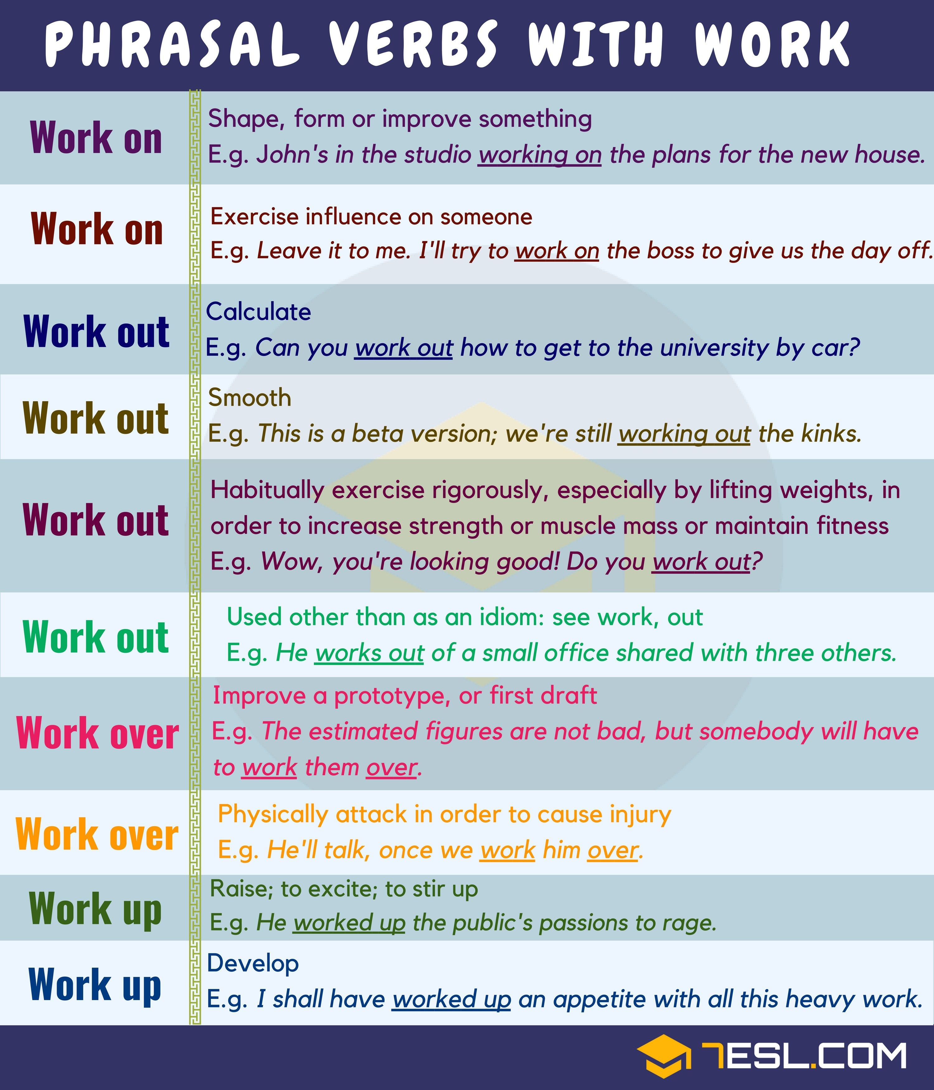 Common English Phrasal Verbs With Work You Should Know Eslbuzz Learning English English Phrases Learn English Words Learn English [ 3500 x 3000 Pixel ]
