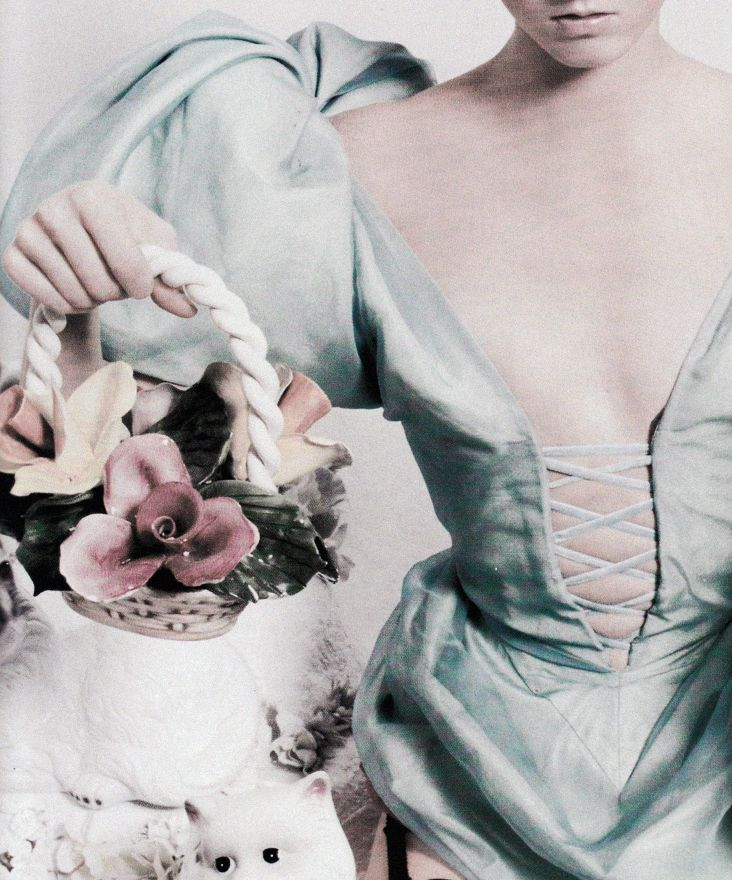 """Porcelain details.  Maggie Rizer in """"Oevres A L'oevre"""" by David Lachapelle for Vogue Paris 1997."""