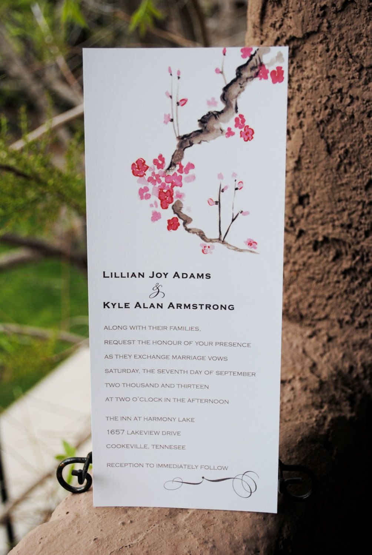 Cherry Blossom Watercolor Tea-length Wedding Invitation. $2.75, via ...