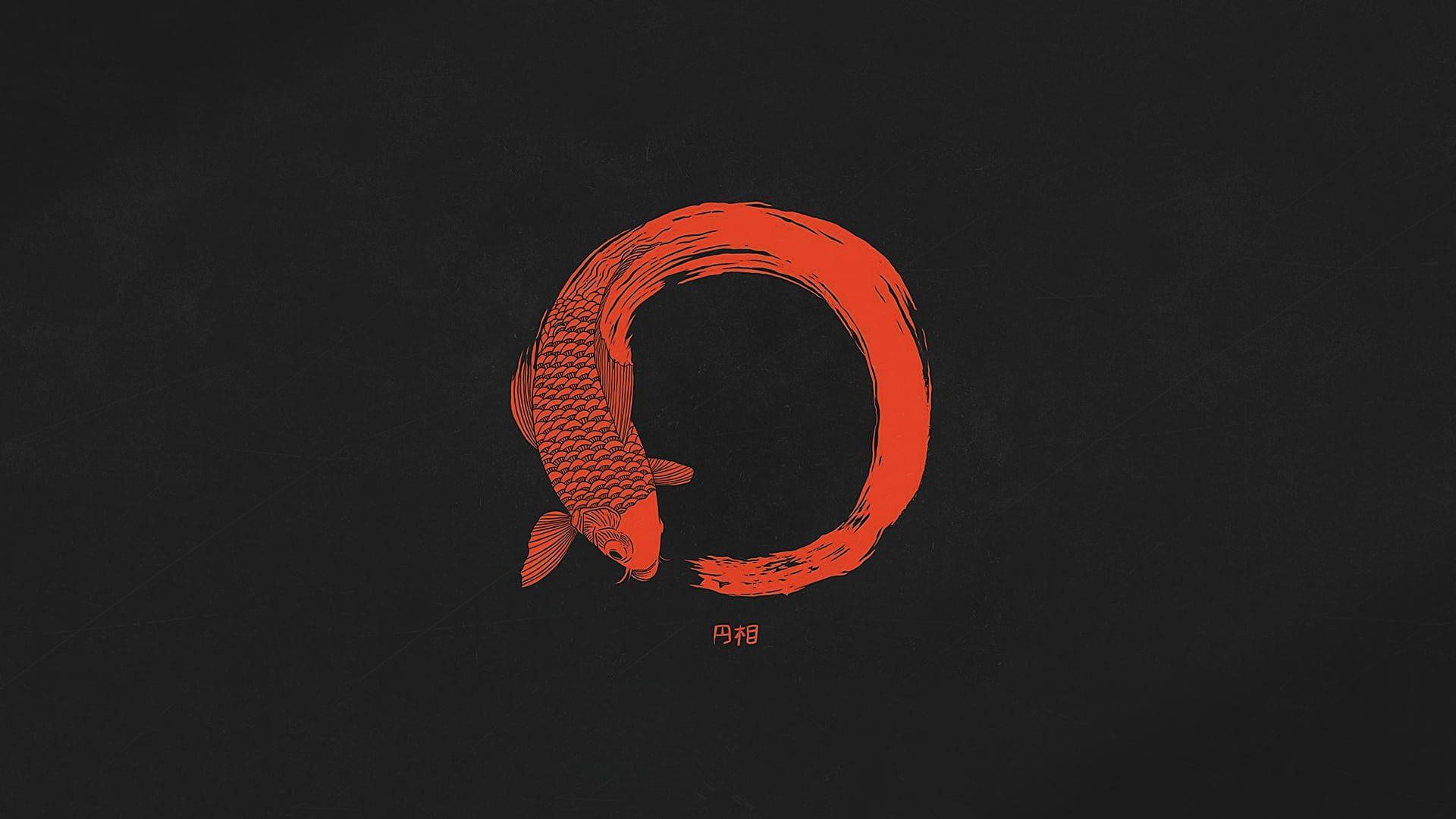 Orange Koi Fish Artwork Dark Minimalism Fish Red Ensō 1080p Wallpaper Hdwallpaper Desktop Di 2020