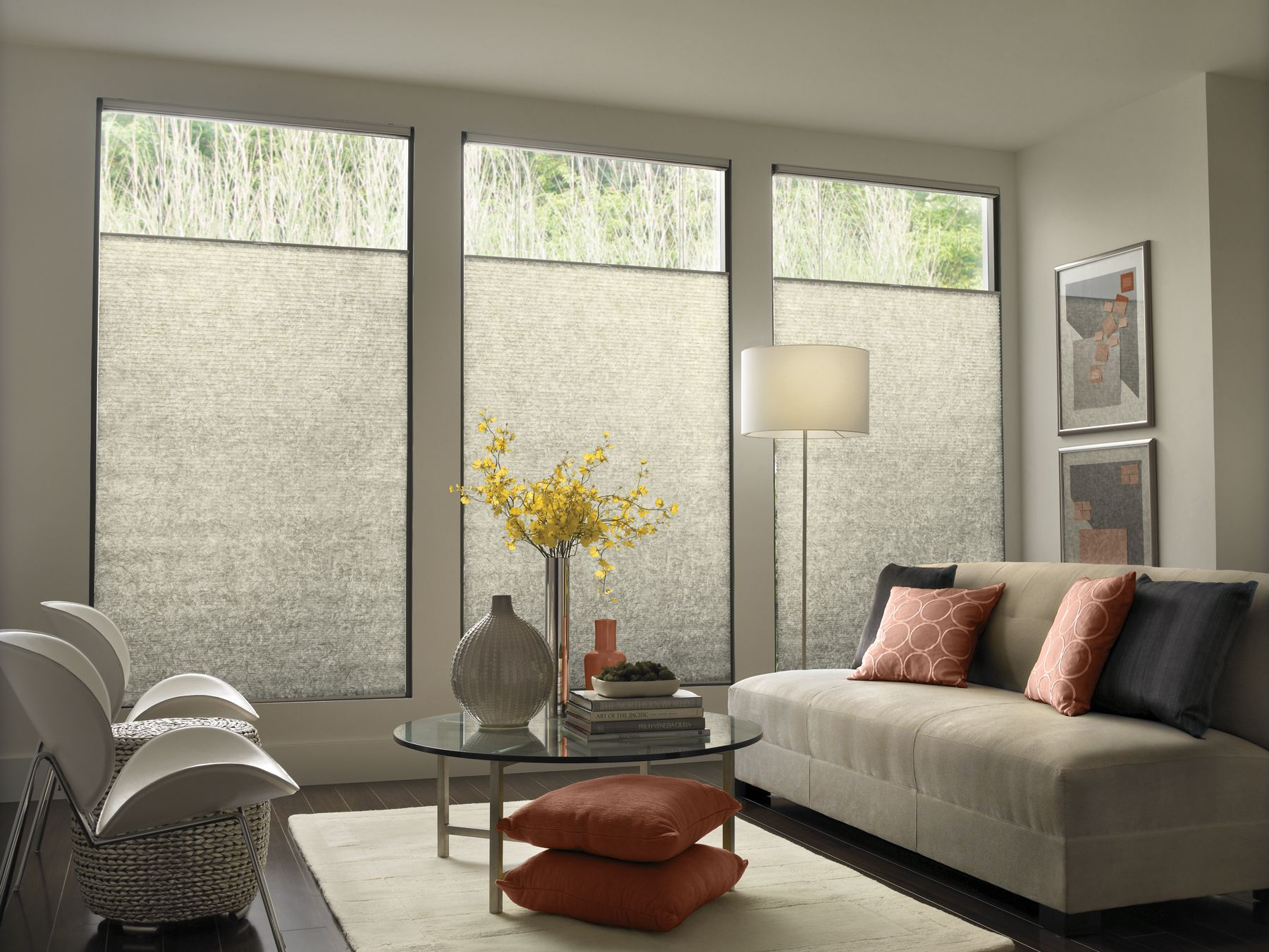 Modern contemporary window treatments with mid century - Living room window treatments for large windows ...