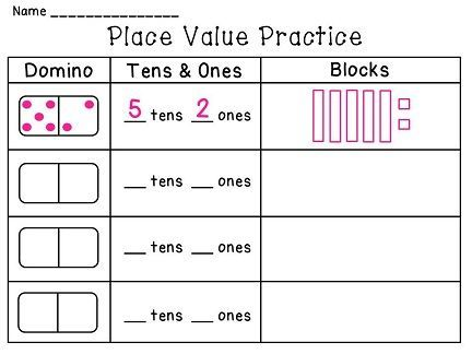 Dominoes Math Centers NO PREP Activities (Entire Year Set of Math - place value worksheet