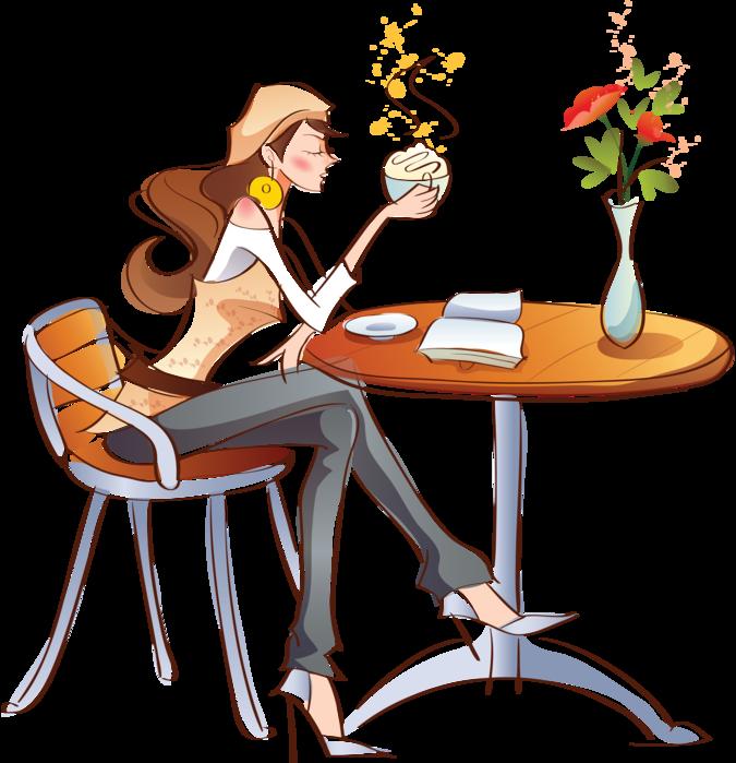 девушка за столиком в кафе рисунок: 17 тыс изображений ...