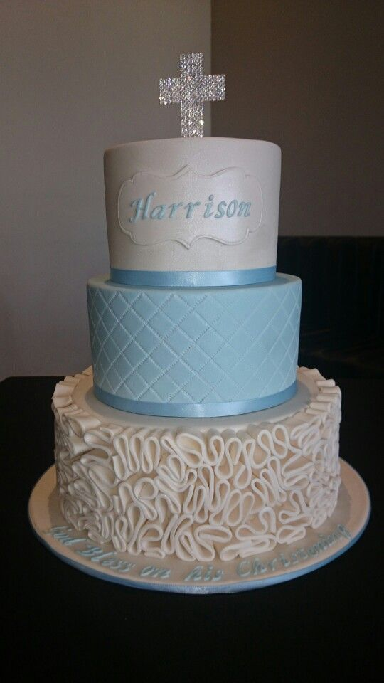 Boys christening cake Blue and white with ruffles quilting and a