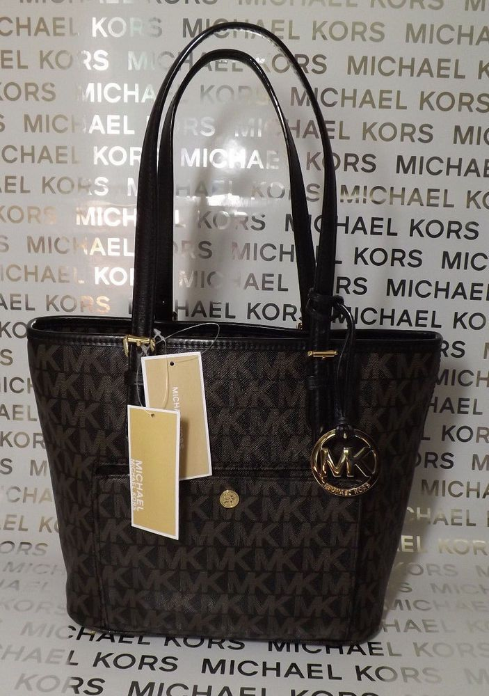 9352e8a21146 Michael Kors Jet Set Medium Snap Pocket Tote Logo Brown & Black Handbag NEW  #MichaelKors #TotesShoppers
