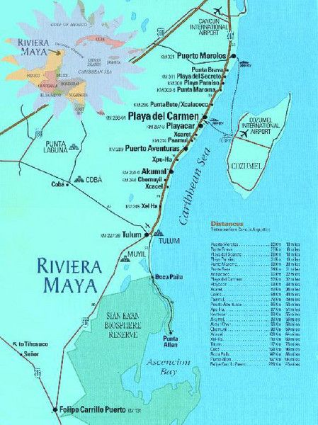 Riviera Maya Mexico Tourist Beach Map