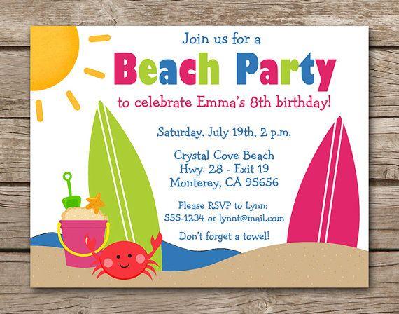 NEW Computer Printer Paper Surf Beach Summer Island Ocean Party Invitation DIY