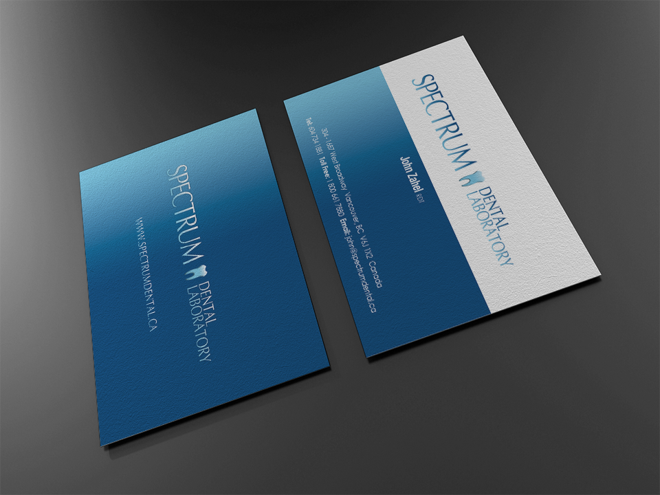 Business card design for dental laboratory in Vancouver, BC ...