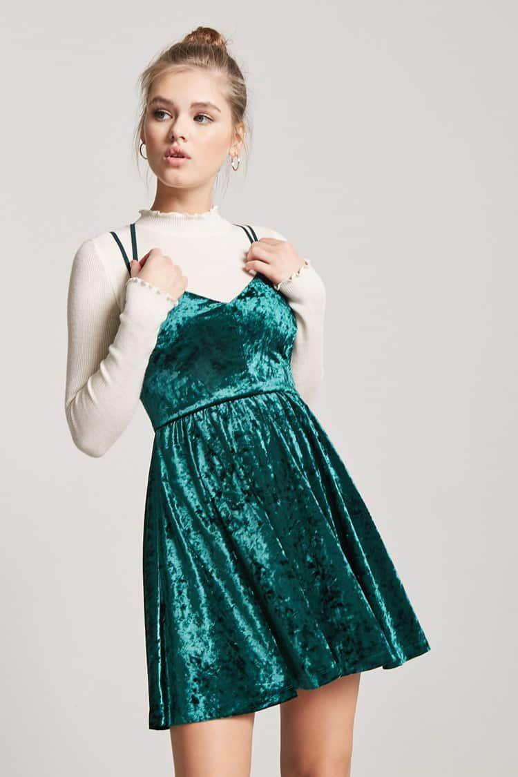 Jurken Feestjurken.Velvet Cami Dress Forever 21