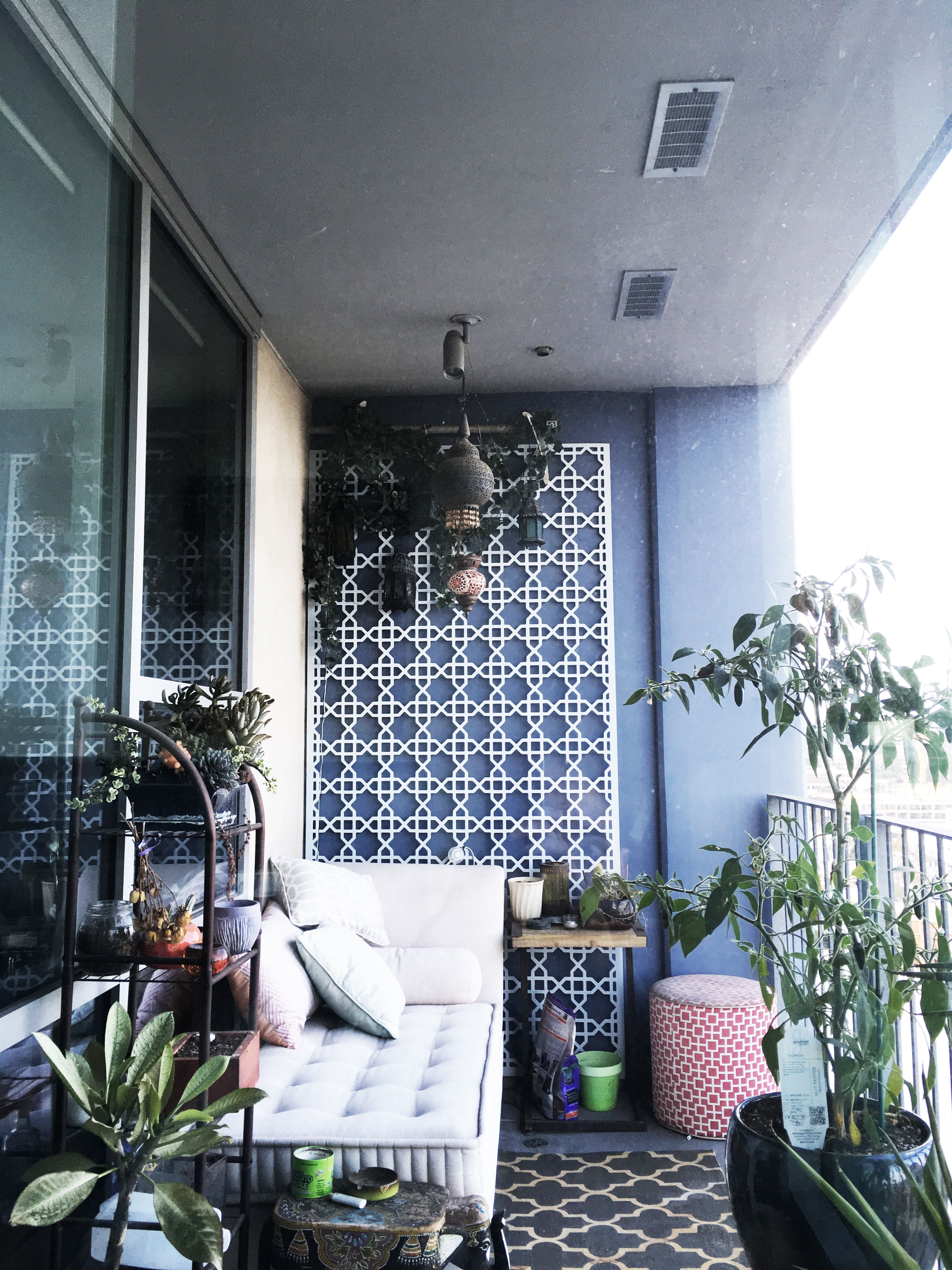 Moroccan Inspired Balcony. Lamps Plants Chaise Lounge