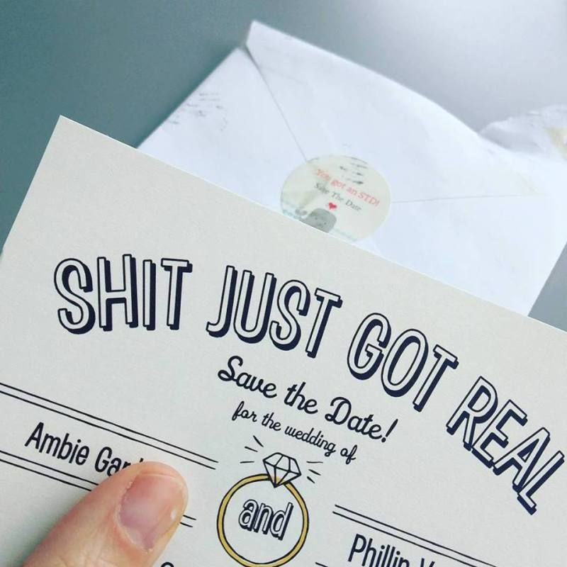 destination wedding invitation rsvp date%0A Shit just got real     clever and funny wedding invitations