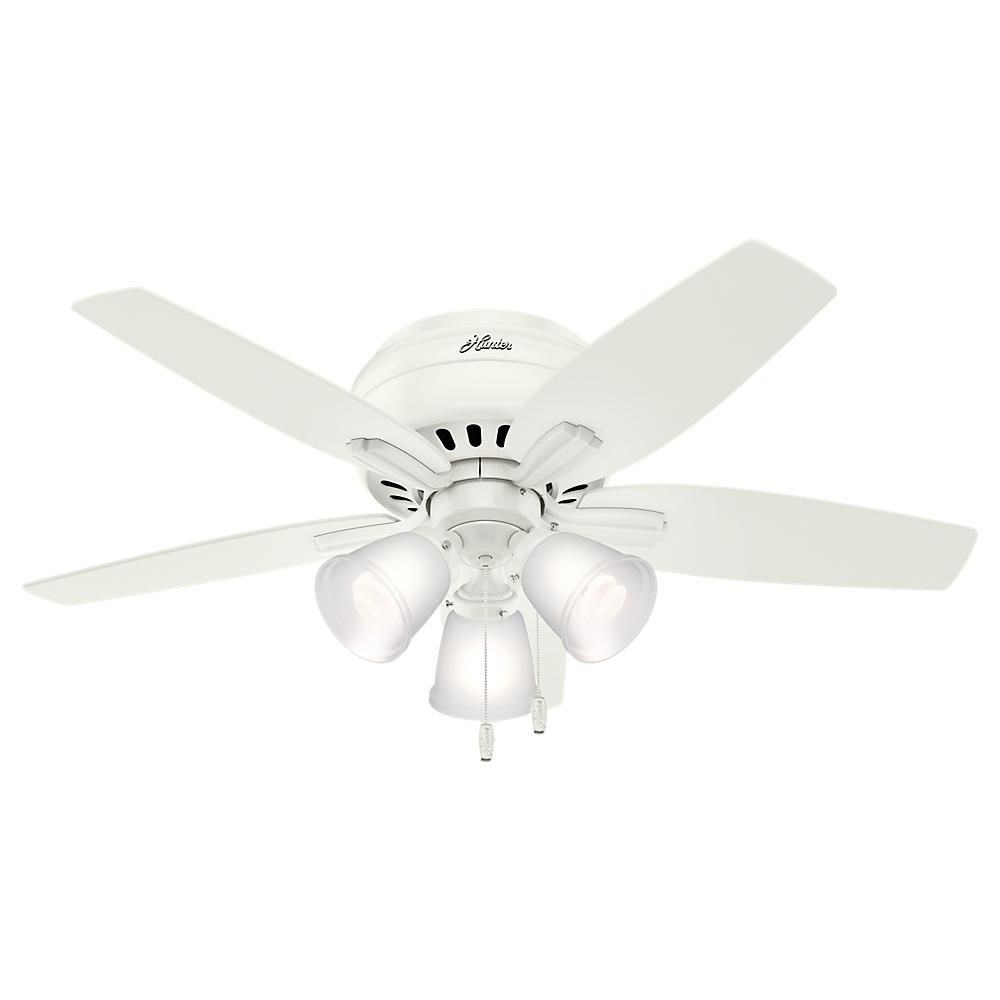 Hunter Newsome 42 In Led Indoor Low Profile Fresh White Ceiling Fan With 3 Light Kit 51077 The Home Depot In 2021 Ceiling Fan With Light Ceiling Fan Flush Mount Ceiling Fan