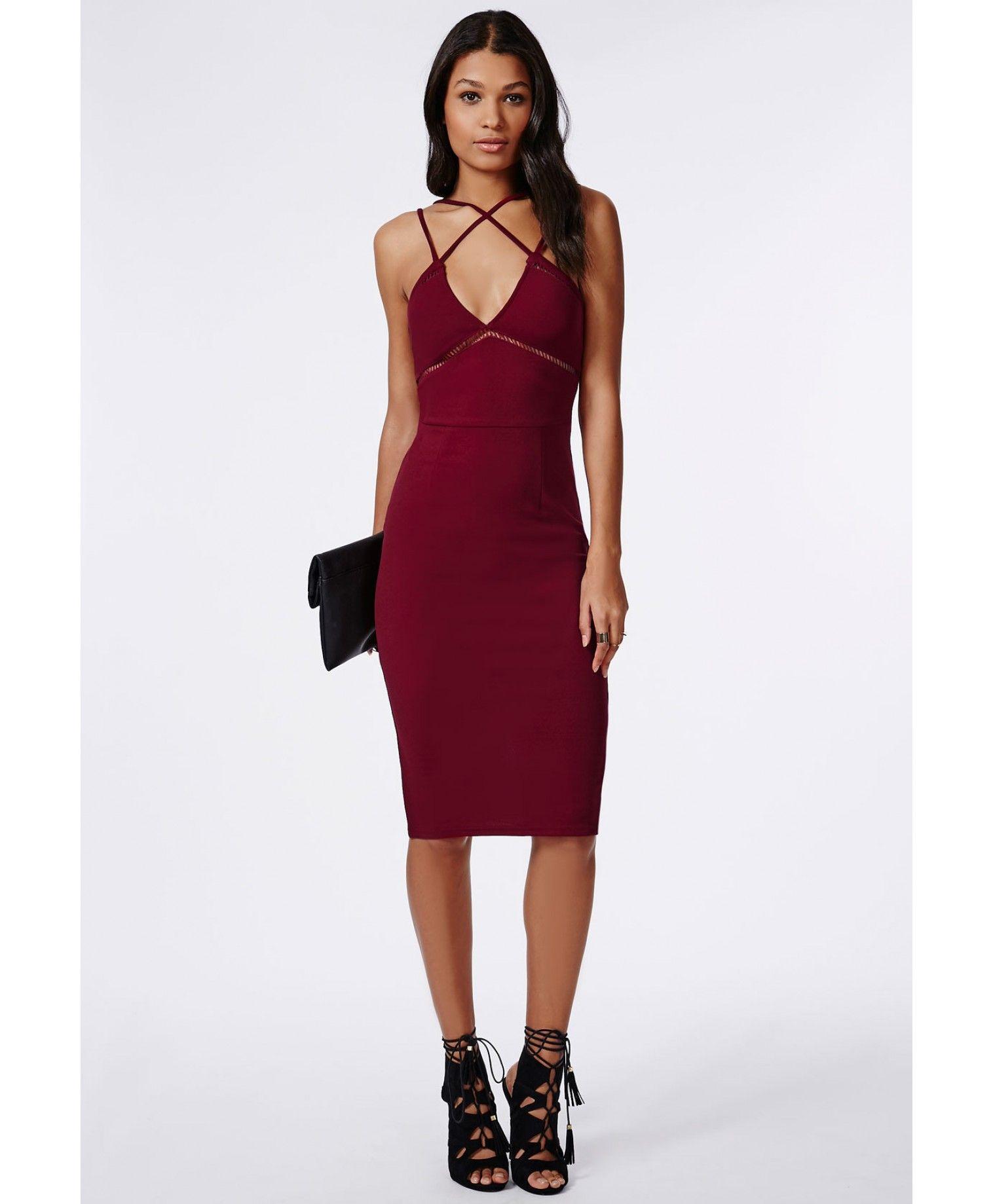 6713a8b2354b Christina Crepe Ladder Detail Midi Dress Burgundy - Dresses - Midi Dresses  - Missguided