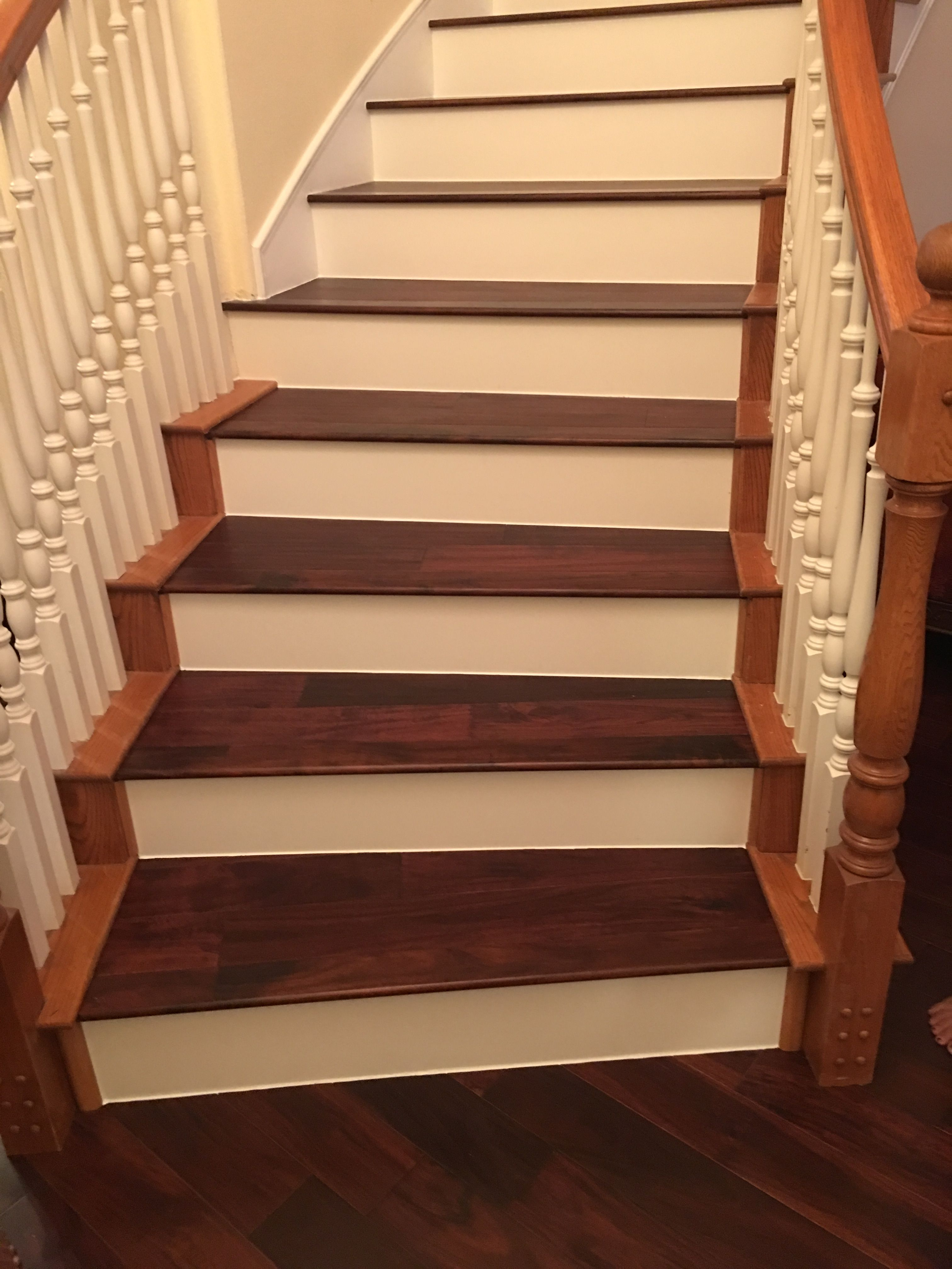 Best Acacia Color Twilight With White Risers Stairs Home 640 x 480