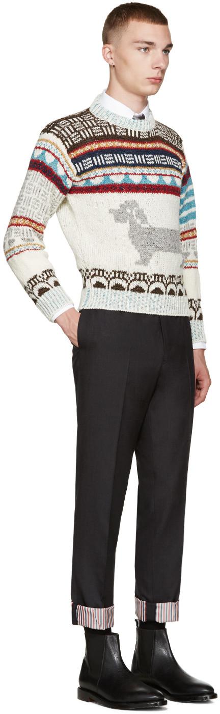 Ivory Fair Isle Hector Sweater   Thom browne