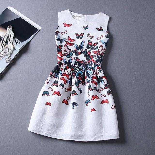 ff018fecb Vestido de verano 2016 Vestidos Para Niñas de 12 años Sin Mangas Impresa  Vestido de Princesa Grande Tamaño Adolescentes Ropa de Los Cabritos