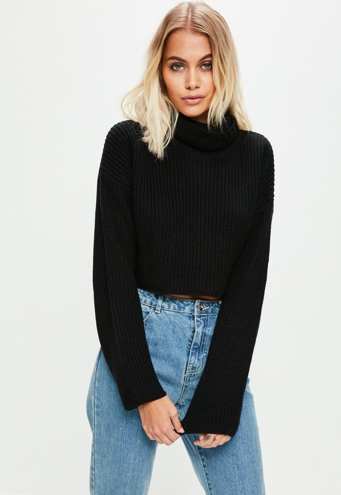 7149adfd87a2d0 Black Roll Neck Knitted Crop Sweater | Buy | Roll neck sweater ...