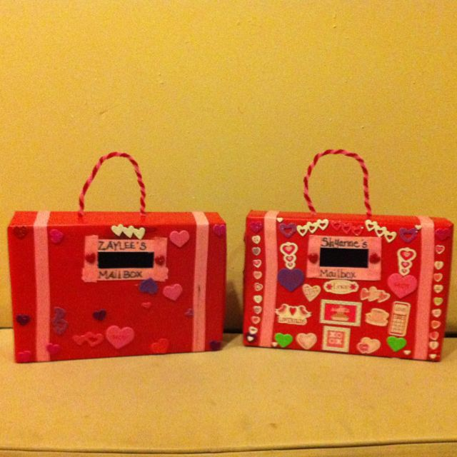 Valentines card mailbox for my girls made out of for What to make out of cereal boxes