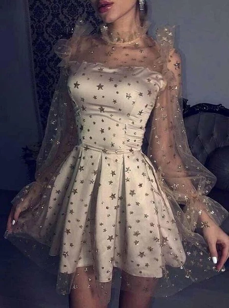 Photo of Starry Night Party Dresses Tulle Long Sleeves Star Homecomin…