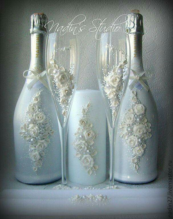 decoraci n de botellas de vino para los novios boda ideas para bodas wedding bottles glass. Black Bedroom Furniture Sets. Home Design Ideas