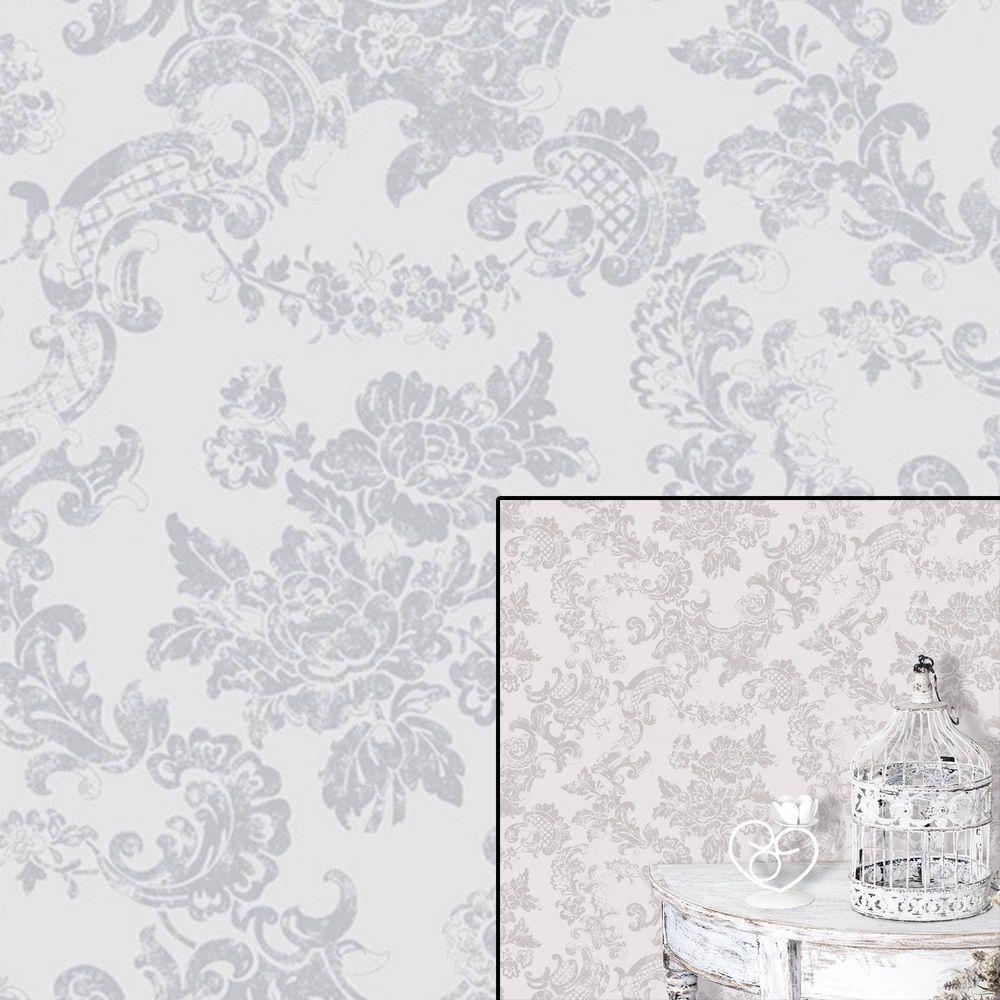 Crown Dove Grey Vintage Lace Floral Lilac Feature Wallpaper Wall Paper Lace Wallpaper Grey Floral Wallpaper Feature Wallpaper