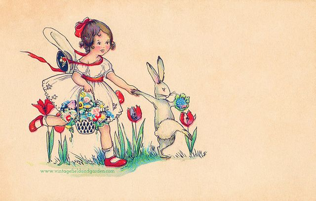 A 1903 postcard showing a little girl in a white dress holding hands with a rabbit as they run through a field of tulips together. I have left plenty of blank space to the right of the image for your own words.    You can download a free high-resolutio Great picture! Kuddos